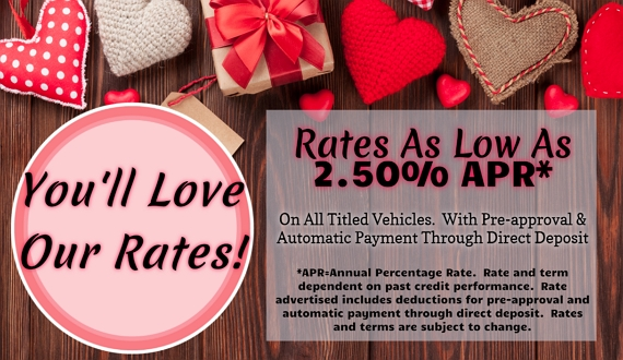 Background image of red and white hearts.  Text: You'll love our rates!