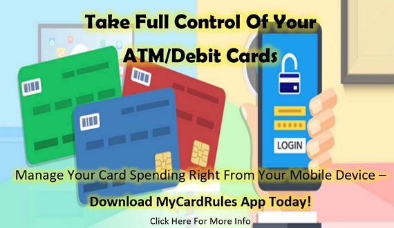 Background image of an illustrated hand holding a cell phone that is displaying a secured login screen, along with images of ATM/Debit Cards.