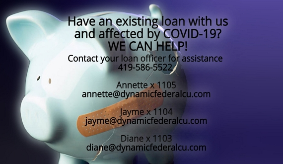 Image of a piggy bank with a bandaid on it's side.  Text: Have an existing loan with us and affected by