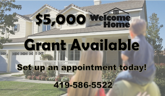 Image of a woman and a man with a yound child on his shoulders looking at a house.  Text: $5,000 Welcome Home Grant Available.  